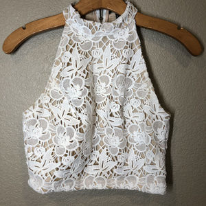 Forever 21 Lace overlay halter crop top size small